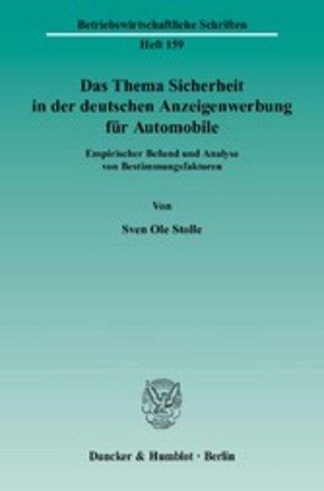 eBook Das Thema Sicherheit in der deutschen Anzeigenwerbung für Automobile. Cover