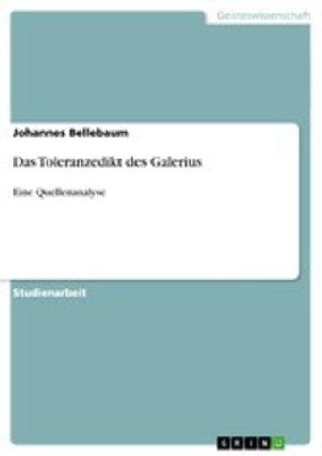eBook Das Toleranzedikt des Galerius Cover