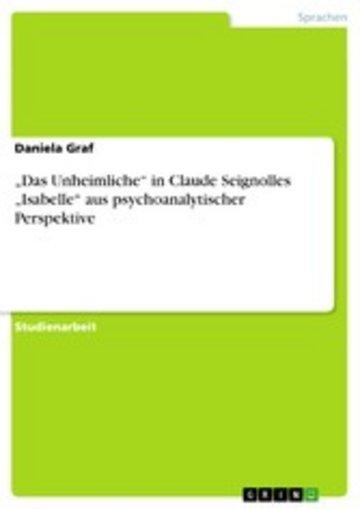 eBook 'Das Unheimliche' in Claude Seignolles 'Isabelle' aus psychoanalytischer Perspektive Cover