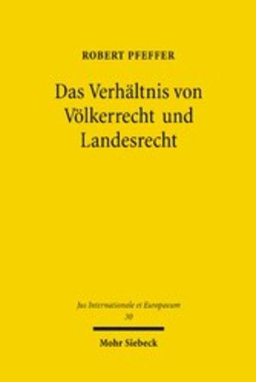 eBook Das Verhältnis von Völkerrecht und Landesrecht Cover