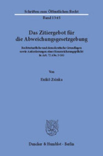 eBook Das Zitiergebot für die Abweichungsgesetzgebung. Cover