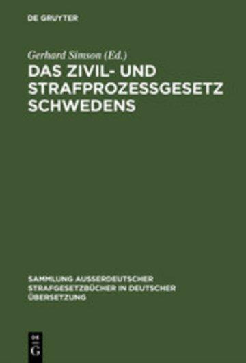 eBook Das Zivil- und Strafprozeßgesetz Schwedens Cover