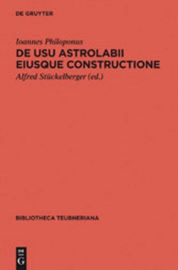 eBook De usu astrolabii eiusque constructione / Über die Anwendung des Astrolabs und seine Anfertigung Cover