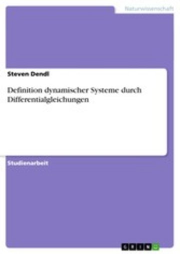 eBook Definition dynamischer Systeme durch Differentialgleichungen Cover