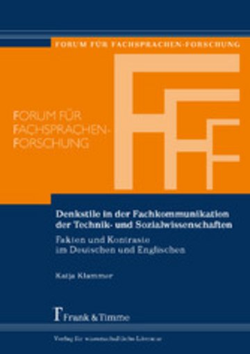 eBook Denkstile in der Fachkommunikation der Technik- und Sozialwissenschaften Cover