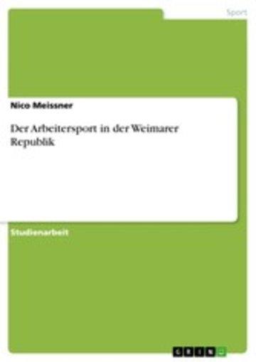 eBook Der Arbeitersport in der Weimarer Republik Cover