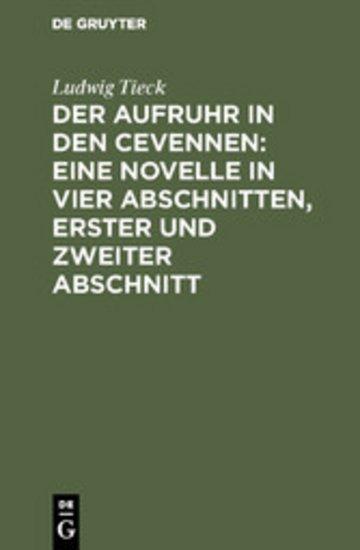 eBook Der Aufruhr in den Cevennen: Eine Novelle in vier Abschnitten, erster und zweiter Abschnitt Cover