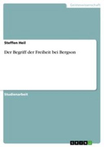 eBook Der Begriff der Freiheit bei Bergson Cover