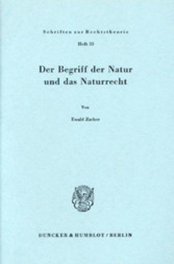 eBook Der Begriff der Natur und das Naturrecht. Cover