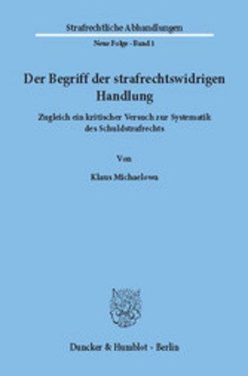 eBook Der Begriff der strafrechtswidrigen Handlung. Cover