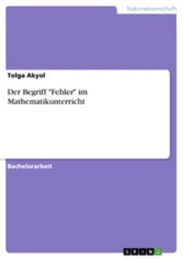 eBook Der Begriff 'Fehler' im Mathematikunterricht Cover