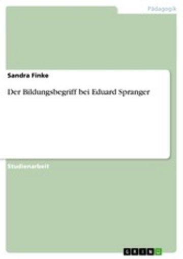 eBook Der Bildungsbegriff bei Eduard Spranger Cover