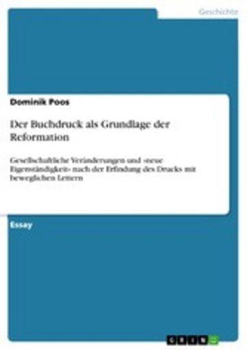 eBook Der Buchdruck als Grundlage der Reformation Cover