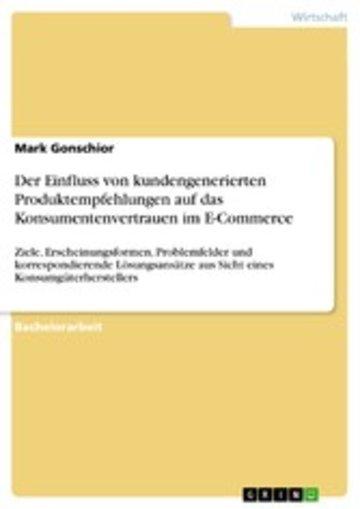 eBook Der Einfluss von kundengenerierten Produktempfehlungen auf das Konsumentenvertrauen im E-Commerce Cover