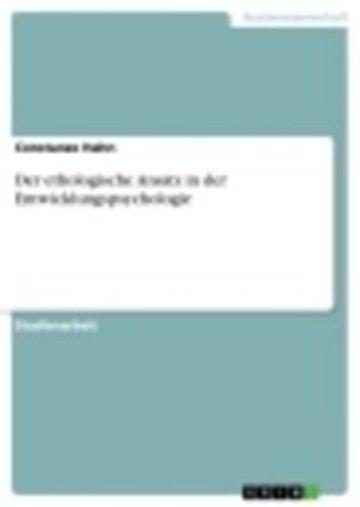 eBook Der ethologische Ansatz in der Entwicklungspsychologie Cover