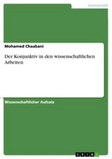 eBook Der Konjunktiv in den wissenschaftlichen Arbeiten Cover