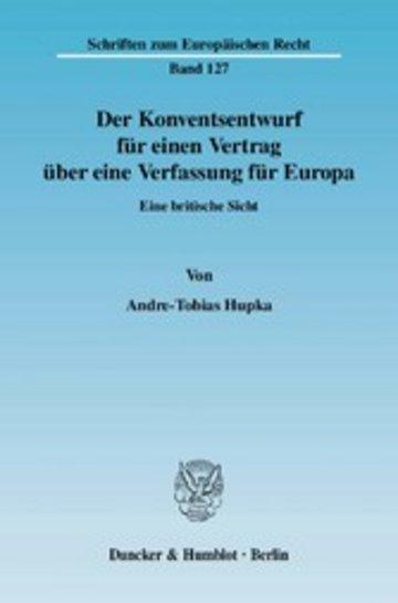 eBook Der Konventsentwurf für einen Vertrag über eine Verfassung für Europa. Cover