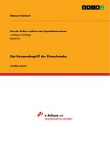 eBook Der Konzernbegriff der Zinsschranke Cover