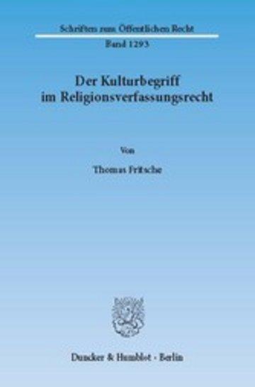 eBook Der Kulturbegriff im Religionsverfassungsrecht. Cover