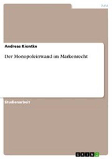 eBook Der Monopoleinwand im Markenrecht Cover