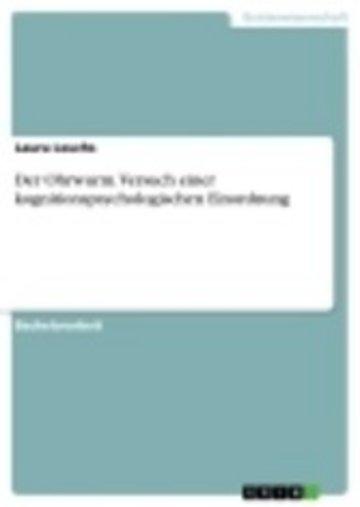 eBook Der Ohrwurm. Versuch einer kognitionspsychologischen Einordnung Cover