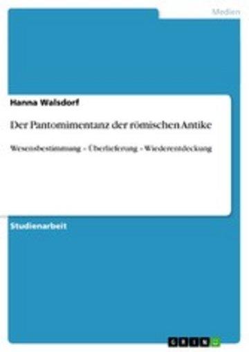 eBook Der Pantomimentanz der römischen Antike Cover