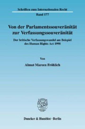 eBook Von der Parlamentssouveränität zur Verfassungssouveränität. Cover