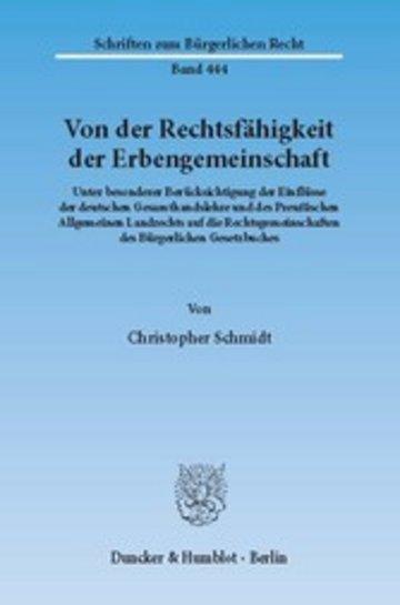 eBook Von der Rechtsfähigkeit der Erbengemeinschaft. Cover