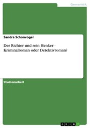 eBook Der Richter und sein Henker - Kriminalroman oder Detektivroman? Cover