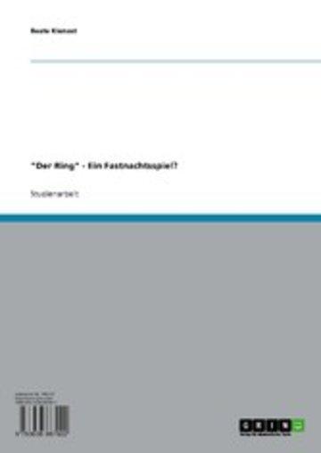 eBook 'Der Ring' - Ein Fastnachtsspiel? Cover