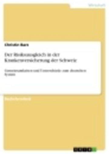 eBook Der Risikoausgleich in der Krankenversicherung der Schweiz Cover