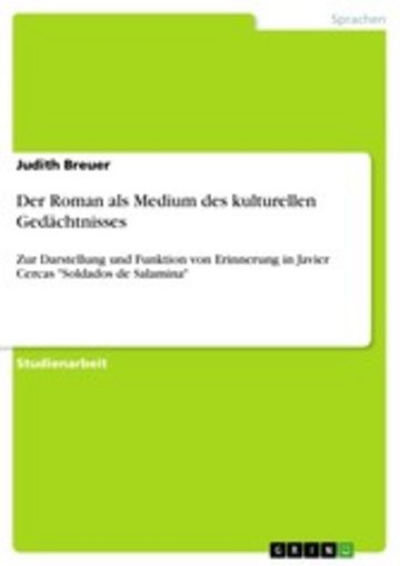 eBook Der Roman als Medium des kulturellen Gedächtnisses Cover