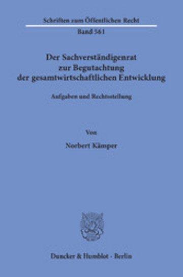 eBook Der Sachverständigenrat zur Begutachtung der gesamtwirtschaftlichen Entwicklung. Cover