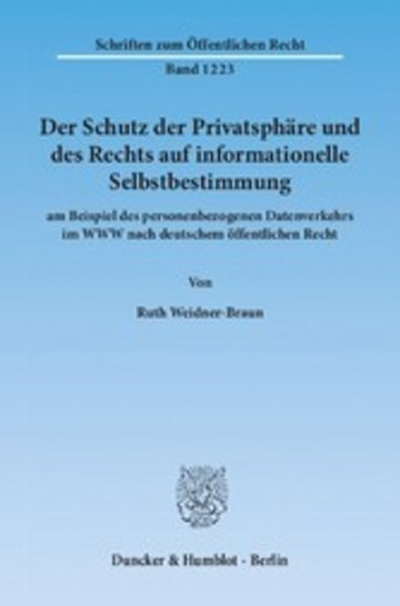 eBook Der Schutz der Privatsphäre und des Rechts auf informationelle Selbstbestimmung Cover