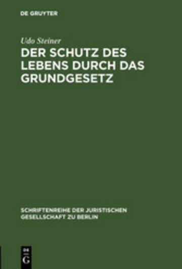 eBook Der Schutz des Lebens durch das Grundgesetz Cover