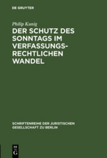eBook Der Schutz des Sonntags im verfassungsrechtlichen Wandel Cover