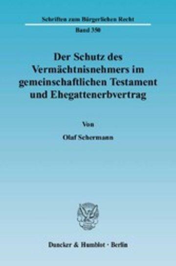 eBook Der Schutz des Vermächtnisnehmers im gemeinschaftlichen Testament und Ehegattenerbvertrag. Cover