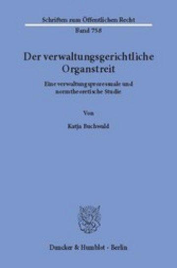 eBook Der verwaltungsgerichtliche Organstreit. Cover