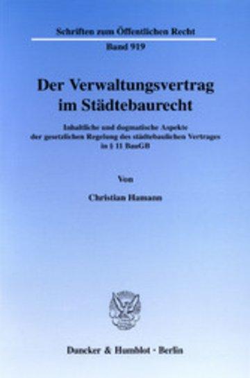 eBook Der Verwaltungsvertrag im Städtebaurecht. Cover