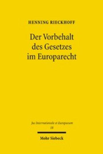 eBook Der Vorbehalt des Gesetzes im Europarecht Cover