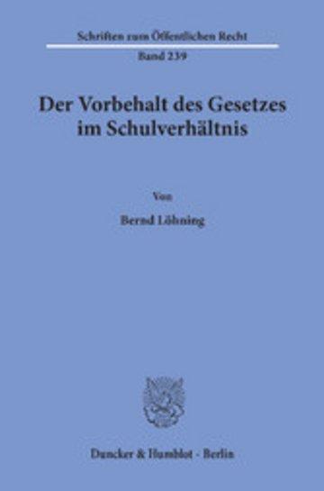 eBook Der Vorbehalt des Gesetzes im Schulverhältnis. Cover