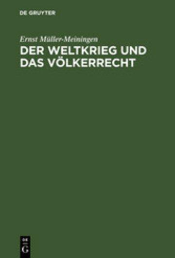 eBook Der Weltkrieg und das Völkerrecht Cover
