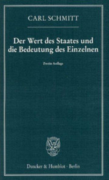 eBook Der Wert des Staates und die Bedeutung des Einzelnen. Cover