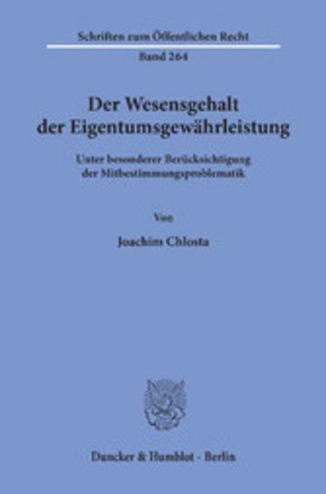 eBook Der Wesensgehalt der Eigentumsgewährleistung. Cover