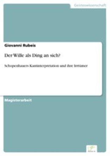 eBook Der Wille als Ding an sich? Cover