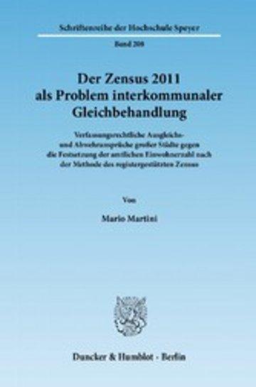eBook Der Zensus 2011 als Problem interkommunaler Gleichbehandlung. Cover