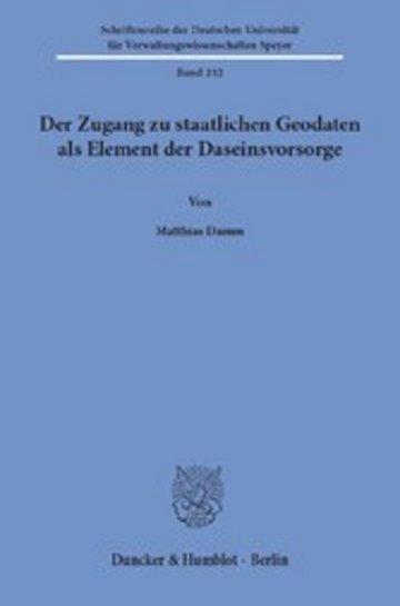 eBook Der Zugang zu staatlichen Geodaten als Element der Daseinsvorsorge. Cover