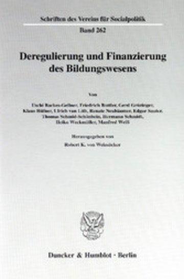 eBook Deregulierung und Finanzierung des Bildungswesens. Cover