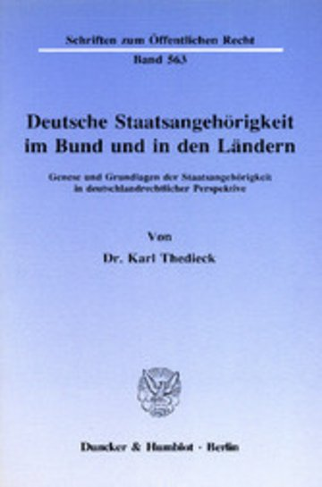 eBook Deutsche Staatsangehörigkeit im Bund und in den Ländern. Cover