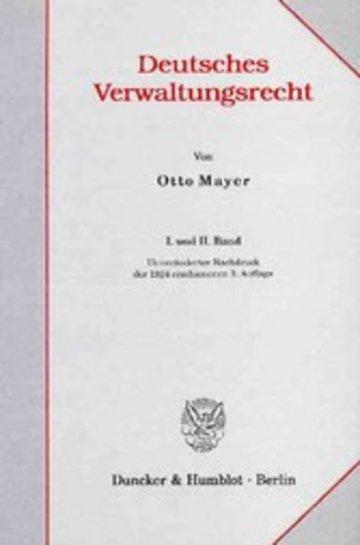 eBook Deutsches Verwaltungsrecht. I. und II. Band. Cover